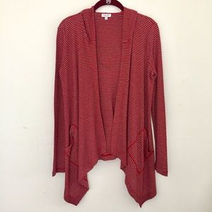 Splendid Open Front Striped Waterfall Cardigan